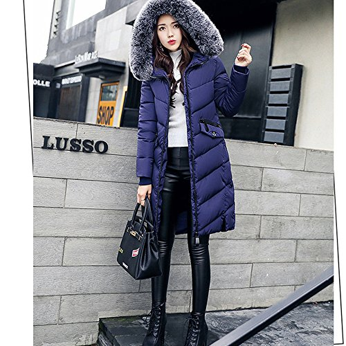 BAINASIQI Donna Piumino Cappotto Elegante Giacca invernale con Cappuccio e pelliccia Spessa Imbottito Lunga Parka Blu scuro