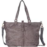 Borsa donna Retrò Vintage a tracolla Shopper grande in Vera Pelle con borchie DUDU Gray Stone