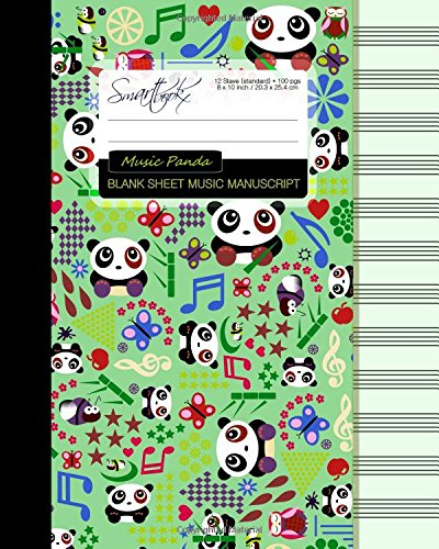 Blank Sheet Music: Manuscript or Staff Paper for Musicians (A large book bound notebook with 100 pages and 12 staves per page from our Cartoon Pandas range) (Music Manuscript Paper)