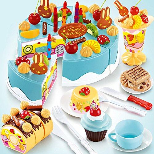 Descripción: Este sistema de juego-alimentos contiene un pastel de cumpleaños muy especial para fiesta de cumpleaños. Con etiquetas autoadhesivas en cada pieza, las secciones del pastel pegan  fácilmente entonces aparte de la rebanada con el cuchillo...