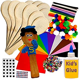 People Wooden Spoons Kit Class Pack of 10 Kids Art and Craft activity Kit Set by Amazing Arts and Crafts