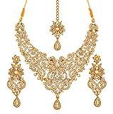 Juego de collar y pendientes Touchstone estilo tradicional de la realeza de Bollywood tallados en filigranas de color dorado antiguo para novia, con diamantes de imitación blancos