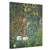 Bilderdepot24 Kunstdruck - Alte Meister - Gustav Klimt - Bauerngarten mit Sonnenblumen - 50x70cm einteilig - Leinwandbilder - Bild auf Leinwand