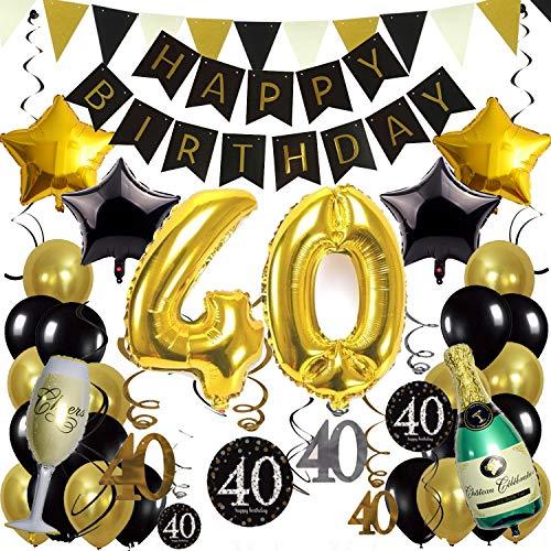 (ZERODECO 40. Geburtstag Dekoration, Schwarz Gold Happy Birthday Banner 40. Nummer Goldfolien-Ballone Champagnerflaschen sternförmige Folienballon Hängende Strudel Dreieckige Wimpel Party Zubehör Set)