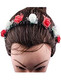 Kabello Multi Colored Flower Headband / Hair Band For Girls And Women (Red / White)