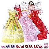 5 Barbie Kleidung Prinzessinnen Kleid Kleider Barbiekleidung + 10 Paar Schuhe