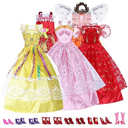 Mixto Estilos 5 x Vestidos Hecho a Mano & 10 Pares de Zapatos para Barbie Muñecas