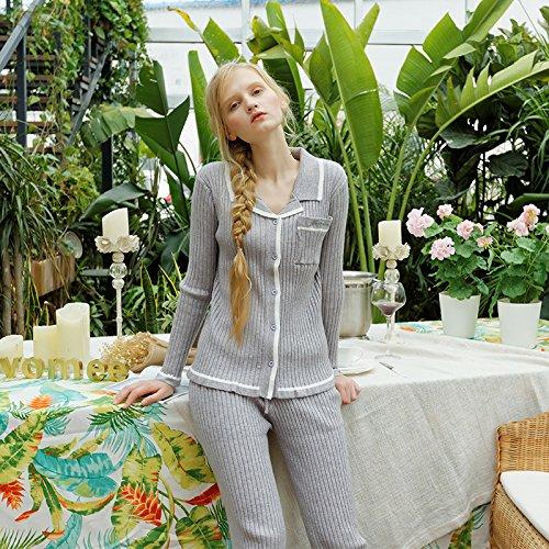 Wanglele Schlafanzug Anzug War Dünn Home Kleidung Bequeme Stricken Frauen Pyjama Tragen Können, Grau, F (Grau Stricken Pyjama)