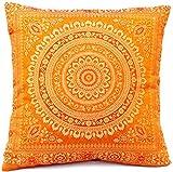 Indische Seide Deko Kissenbezüge 40 cm x 40 cm, Extravaganten Design für Sofa & Bett Dekokissen, Kissenhülle aus Indien. Angebot gültig bis zum Ende des Monats