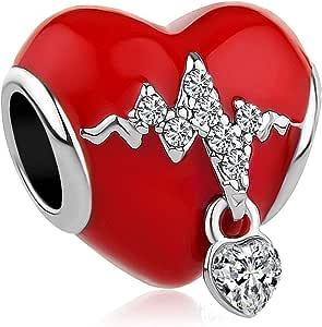 Korliya de No/ël Bonhomme de Neige Perle Charm pour Bracelet