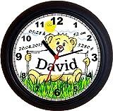 Lucky Clocks TEDDY TAUFE GEBURT Wanduhren für jeden Anlass mit jeder Beschriftung und jedem Vornamen Namen erhältlichen