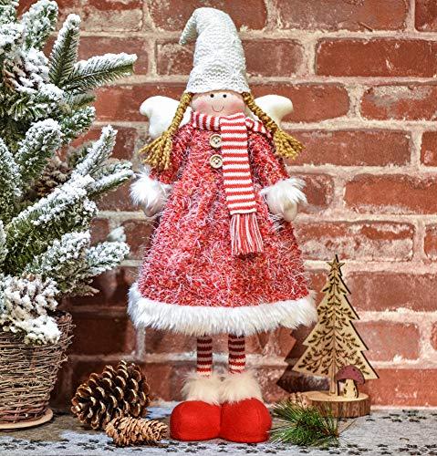 Valery madelyn decorazione natalizia bambino invernale ragazza in piedi figura decorativa in tessuto con cappello invernale sciarpa e ali in bianco e rosso 56 cm angelo di natale decorazione