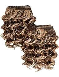chear Deep Wave 2en 1trame Extension de cheveux humains avec de mélange tissage Nombre P4/27, blond marron 20cm