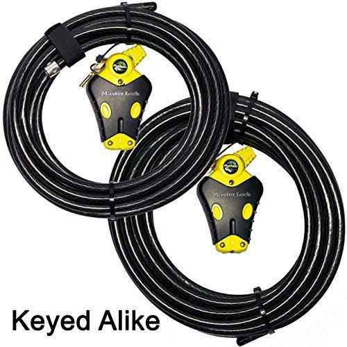 Master Lock - Two 6 ft Python Adjustable Cable Locks Keyed Alike, 8413KACBL-66 -