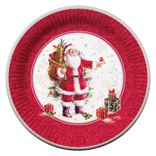 Weihnachten Pappteller / Teller NIKOLAUS HOHOHO (23 cm / 10 Stück) TOP QUALITÄT
