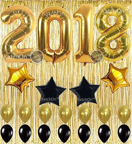 2018 balloons gold decorations banner new years eve party supplies decorations graduation party supplies