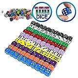 YOUSHARES Würfel 100 Stück Würfel Set mit Taschen, Spielwürfel für Tischkartenspiele, Würfel Bunt Set 6-Seitig, 16 mm d6 Standardwürfel