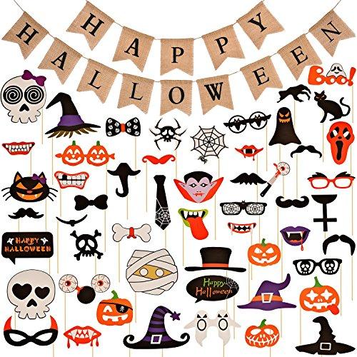 Jovitec Halloween Bandiera di Tela e 52 Pezzi Foto Assortita Cabina Puntelli per Party Festival Decorazioni di Halloween