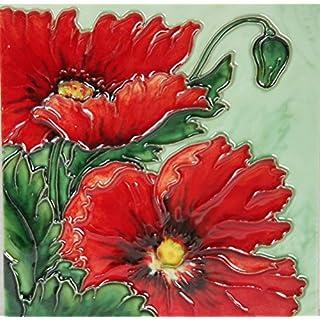 YH-Arts 6x6 RED Poppy 1, Multicolour, 15x15x0.7 cm