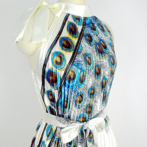 SaiDeng Femmes Rétro Années 50 's Rockabilly Pour Mariage Ou Bal Pinup Dos Nu Robe Robe Imprimée Avec Ceinture Paon