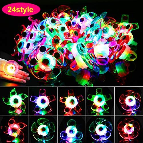 howaf 24pcs giocattolo di festa led illumina anelli luminosi per bambini festa compleanno bomboniere regali bambini compleanno gadget natale regalo sacchetti