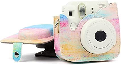 LEDMOMO PU Leather Camera Bag Protective Case with Neoprene Protection for Fujifilm Instax Mini 8/8+/ 9 Instant Camera (Oil Painting)
