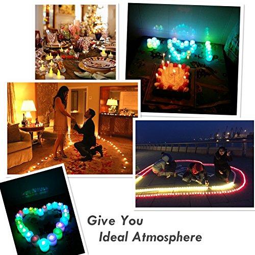 Velas LED, Morbuy Luz De La Vela Del LED Luces Sin llamas 24PC Para la Boda Cumpleaños Celebración Día de San Valentín Fiesta Halloween Navidad Decoración Del Hogar (Color intermitente (Lento))
