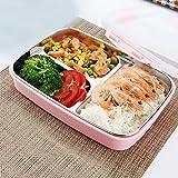 Futurepast Brotdose Kinder Brotdose Edelstahl Dauerhaft Frischhaltebox Bento Box mit 3 Unterteilungen Mittagessen Container Food Aufbewahrungsbehälter Für Kinder Erwachsene (Rosa)