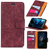 LG Q7 - Comfortable Leather Cover Wallet Style Flip Cover Case for LG Q7 ONLY (LG Q7 Cover Purple)