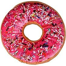 Ularma Cojín almohada en forma de dona, anillo felpa suave almohada, lindo estilo (rosa roja)