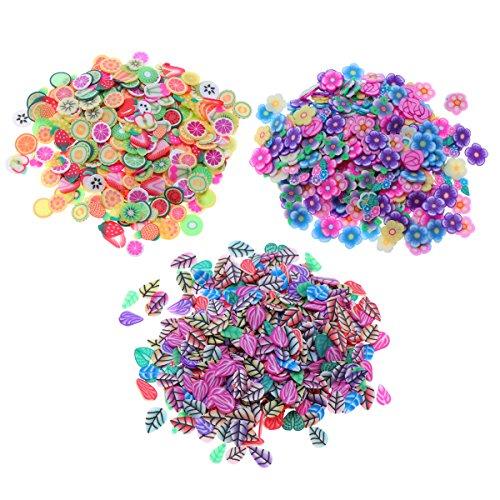 von Obst Blume Blätter Scheibe Dekorationen für Nail Art Sticking Slime DIY Handwerk ()