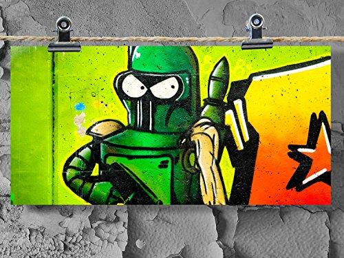 Postkarte XXL Panorama Graffiti Comic Roboter