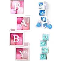PILIN 4 pièces blocs blancs carrés bébé boîtes de douche Kit décorations de fête pour garçon et fille sexe révéler…