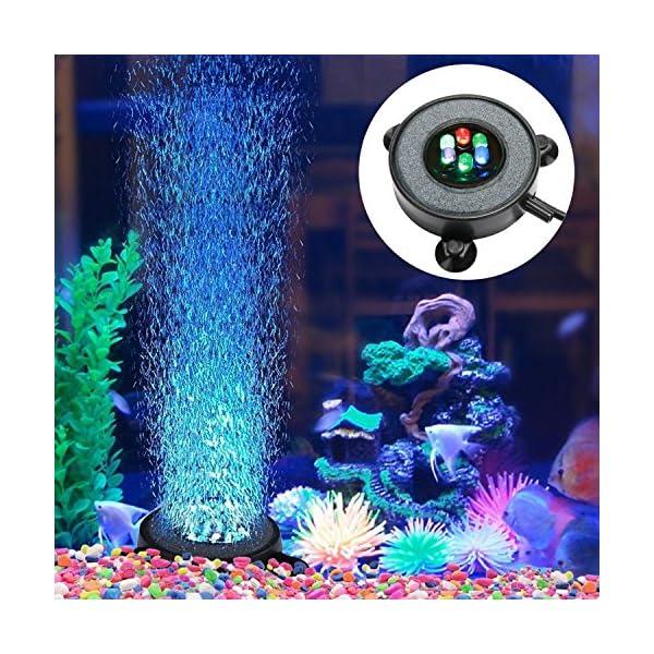 Supmaker Aquarium Air Stone Fish Tank Led Air Stone Bubble Light with 6 Color Changing LEDs for Aquarium
