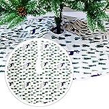 Navigatee Weihnachtsbaum Rock, Schneemann Weihnachtsbaum Rock Holiday Dekorationen - Cherry Non Woven Und Tartan Rim, 47,24 Zoll, Weiß