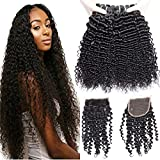 VIPbeauty Virgin Brazilian Hair 4 Bundles with Closure 8A Curly Wave 100% Unprocessed Human Hair Bundles with Free Part Closure (14 16 18 + 12)