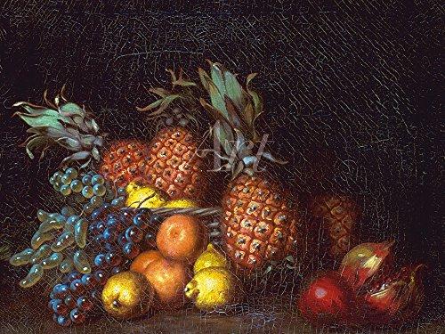 Artland Alte Meister selbstklebendes Premium Wandbild Charles Bird King Bilder 60 x 80 cm Granatapfel Trauben und Ananas 1835-1840 Kunstdruck Wandtattoo Romantik K1ZR -