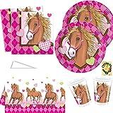 Horses Pferde Partyset 53 Teile für 16 Kinder Teller Becher Servietten Tischdecke
