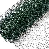 NIEDERBERG METALL Grillage Métallique pour Cloture Maillage Hexagonal : 13x13mm Longueur 25m Hauteur 50cm Clôture pour Animaux et Plantes 0.8mm avec Couche en PVC Verte