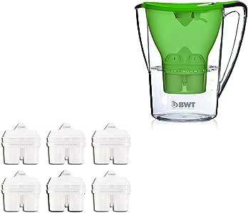 BWT - Wasserfilter 2,7 Liter Penguin Edition Grün inkl. Halbjahrespaket BWT Filterkartuschen 6 Stk.