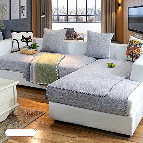 DW&HX Baumwolle und leinen Trägerlos Sofabezug Möbel Protector,1 stück 3 Sitze Haustiere und Kinder Im Schwergewicht Anti-Rutsch Gesteppter Sofa Protector-grau 28x71inch(70x180cm)