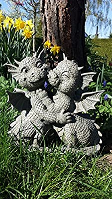 Sitting Dragon Love Couple Kissing Enjoy Dragon Garden Ornament Love