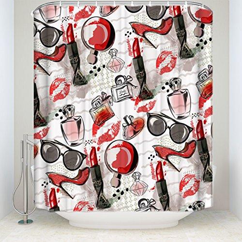 Element Dusche Vorhänge High Heels Parfüm Lippenstift Sonnenbrille Kosmetik Kollektionen Badezimmer Dekorationen für Frauen Lady Mädchen, Polyester Textil, mehrfarbig, 48x72Inches ()