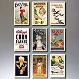 9 Vintage Retro Advert Poster Fridge Magnets - Shabby, Chic, Art Deco - No.2