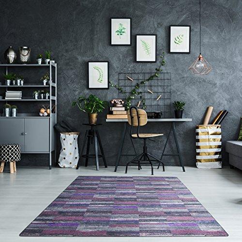 Luxus Schlingen Teppich Magic Light - Farbe wählbar: Pink, Blau, Türkis, Orange, Gelb, Lila | schadstoffgeprüfte und strapazierfähige Qualität | für Wohnzimmer Schlafzimmer Jugendzimmer und Büro, Farbe:Lila, Größe:180 x 200 cm Küche-teppich, Gelb, Blau