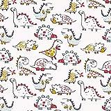 Fabulous Fabrics Baumwolljersey Freundliche Dinosaurier –