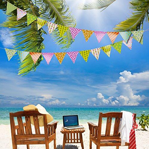 2-Piezas-8-Pies-Pancarta-de-Banderines-de-Fiesta-de-Doble-Cara-12-Banderas-Tringulo-de-Papel-de-Flor-Hawaiana-Multicolor-y-Patrones-Variados