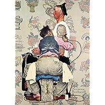Barbería y Salón de la vendimia tatuador por Norman Rockwell, Reproducción sobre Calidad 200gsm de espesor en Cartel A3 Tarjeta Brillante