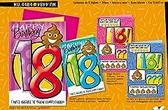 Idea Regalo - Biglietto Auguri Compleanno 18 ANNI Emoticon Cacca Poop 1 A SCELTA