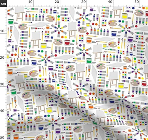 Kunst, Künstler, Wasserfarben, Maler, Illustration Stoffe - Individuell Bedruckt von Spoonflower - Design von Robyriker Gedruckt auf Leichter Baumwoll Twill -